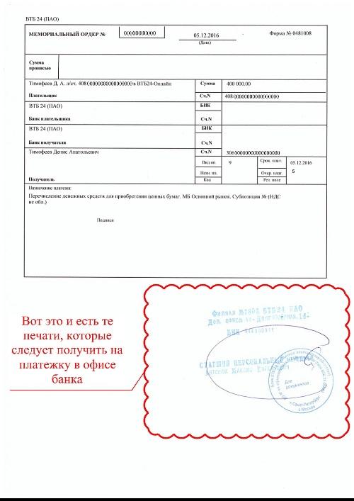 Мемориальный ордер ВТБ