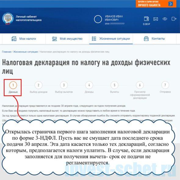 """Вкладка """"Данные"""" декларация онлайн"""